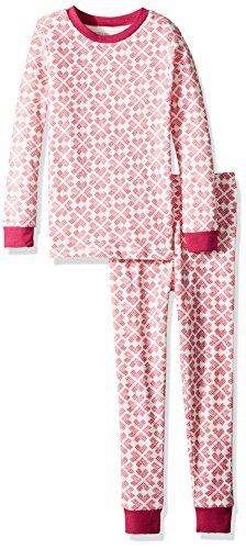 Burt's Bees Baby Little Kids Pajamas, Tee and Pant 2-Piece PJ Set, 100% Organic Cotton, Azalea Stitched with Love, 6 Years (Azalea Apparel)