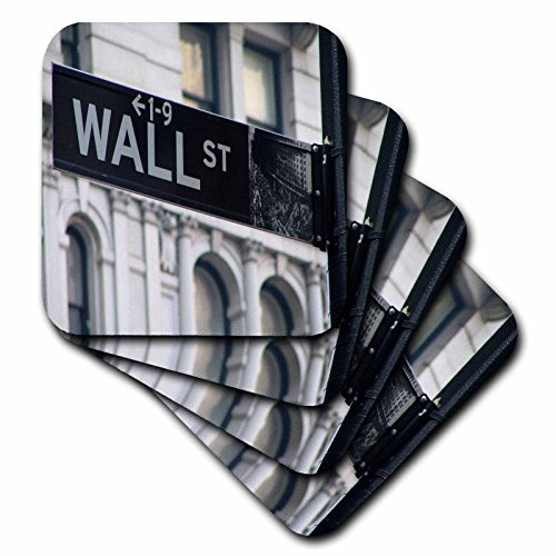 Drink Coasters Wall Street Rubber Coaster Set of 4 Housewarming Gift 4 inch