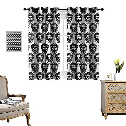 Black and White Waterproof Window Curtain Monochrome Medieval Knocker Old Antique Figure Head Cartouche Gothic Theme Blackout Draperies for Bedroom W63 x L63 Black White ()