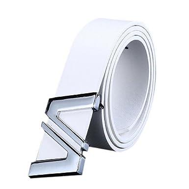 5f441340f56d6 Fami Fashion Hommes Mode Automatique Lettre Boucle Cuir Taille Ceinture à  boucle (Blanc)