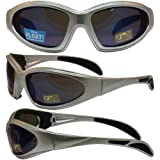 Chopper Padded Riding Sunglasses By Pcsun Silver Frames Blue Mirror Lenses
