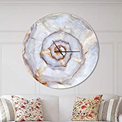 Designart Skeleton of Sea Shell' Oversized Coastal Metal Clock, Circle Wall Decoration Art, 38x38 Inches, White