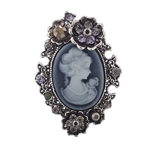 Lux Accessories Silver Antique Blue Cameo Pin Burnished Flower Stones Brooch