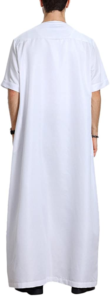 Zhuhaitf Muslim//Arab//Middle Eastern//Islamic Mens Short Sleeve Solid Color Robes