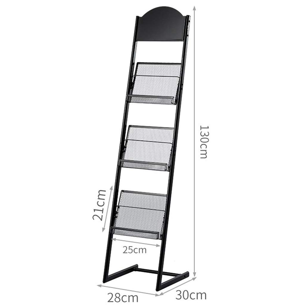Size : 28 * 30 * 130cm LQQFF Adjustable Poster Stand Brochure Display Large Mobile Literature Display Stand with 3 Shelves Black Sign Frame