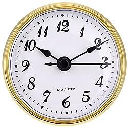 Hicarer 2.8 Inch/ 70 mm Quartz Clock Insert, Gold Trim, Arabic Numeral, Quartz Movement (Gold Trim)