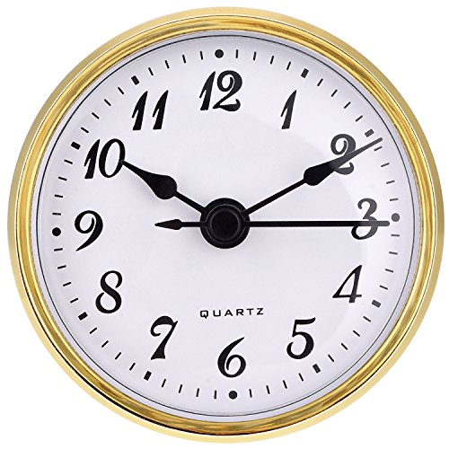 Hicarer 2.8 Inch/ 70 mm Quartz Clock Insert, Gold Trim, Arabic Numeral, Quartz Movement (Gold Trim) ()