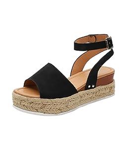 Sandalias Mujer con Sandalias Wedge Plateau con Correa en el Tobillo Sandalias Bajas de Verano Alpargatas de Punta Abierta Zapatos Elegantes para Mujer Cómodos (38 EU, Negro)