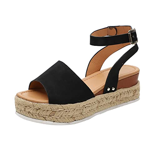 1c6758b1b01 HIFUAR Women's Espadrille Sandal Platform Wedge Halter Ankle Strap Open Toe  Faux Leather Studded Wedge Summer Sandals