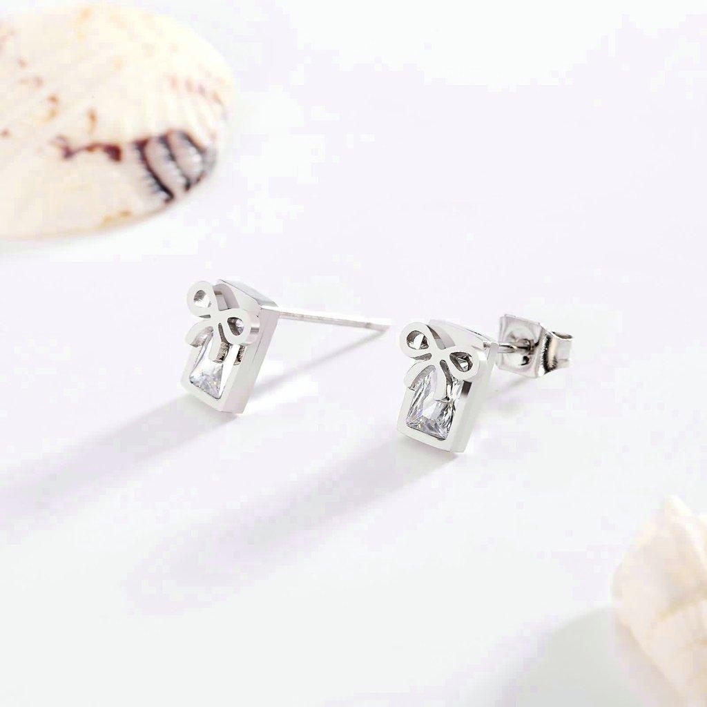 KnSam Women Stud Earrings Stainless Steel Bowknot Crystal 6X7MM Novelty Earrings