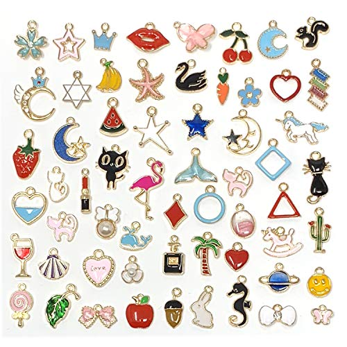 JIALEEY 60PCS Assorted Gold Plated Enamel Animal Moon Star Fruit Charm Pendant DIY for Necklace Bracelet Jewelry Making and Crafting]()