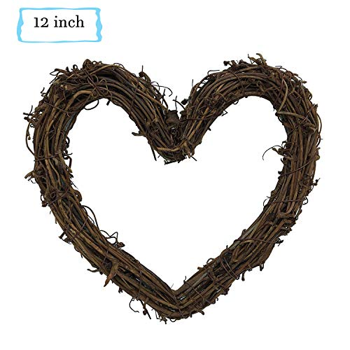 Heart Shape Natural Grapevine Wreath Ring Wreath DIY Craft Vines for Christmas Wreath Door Garland Wedding Party Home Decoration Hanging Wreath, Valentine's Day, Weddings, Front Door Display(About 12