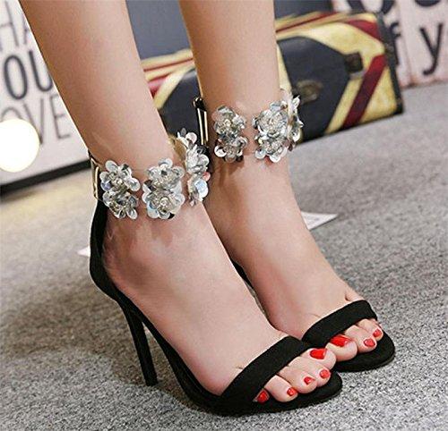 WSK Zapatos de tacón de sandalias de tacón alto para mujeres Zapatos huecos de copo de nieve Zapatos de boca de pescado Zapatos de moda de fiesta de bodas black