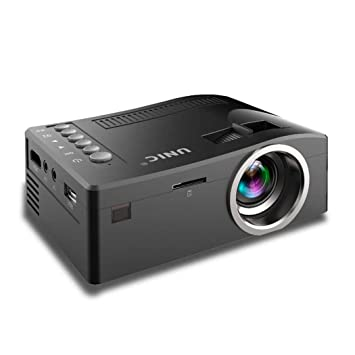 Juzie Mini proyector portátil Multimedia Full HD, Soporte HDMI VGA USB AV SD Conectado con TV portátil para Movie Party, Negro