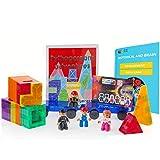 (US) Pythagoras Magnet Building Tiles - Magnetic Blocks Educational Building Toy for Kids Builds Cognitive & Motor Skills - TRIPLE BONUS 4 Magnet Figurines, Comic Book, eBook - 62-Piece Multishape Magnets