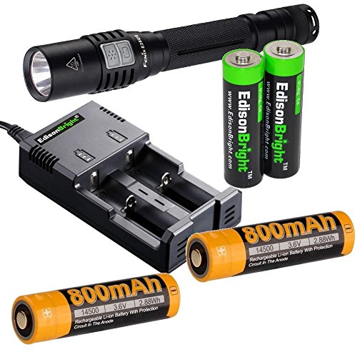 Fenix E25UE 2015 Ultimate Edition 1000 Lumen CREE XP-L V5 LED Flashlight with 2X ARB-L14 type 14500 rechargeable li-ion batteries and 2 X EdisonBright AA Alkaline batteries