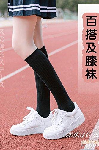 Generic Japanese girls long leg socks knee socks Gaotong sports baseball uniform k white tube socks in black school