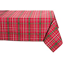 "DII 100% Cotton, Machine Washable, Dinner and Holiday Tablecloth 60 x 120"", Tartan Holly Plaid, Seats 10 to 12 People"