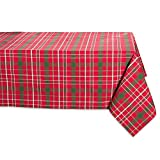 DII Tartan Holly Plaid Square Tablecloth, 100% Cotton with 1/2' Hem for Holiday, Family Gatherings,...
