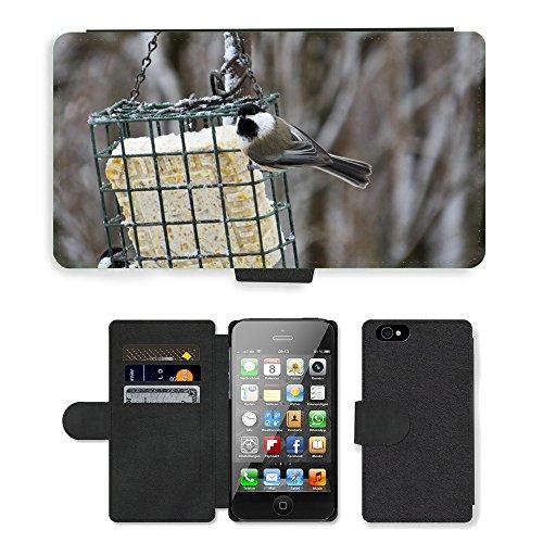 Just Phone Cases PU Leather Flip Custodia Protettiva Case Cover per // M00128872 Mésange passereau // Apple iPhone 4 4S 4G