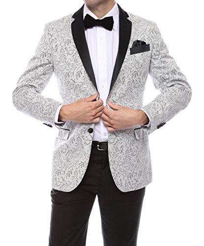 40S Zonettie PANDORA Silver Slim Fit Jacquard Tux Blazer