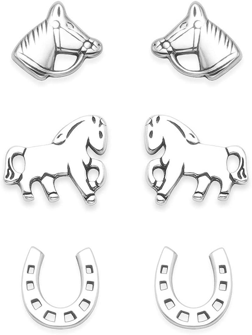 Juego de 3 pares de pendientes de plata de ley de 8 mm, con caja de regalo, pendientes de herradura y cabeza de caballo. 5024 set
