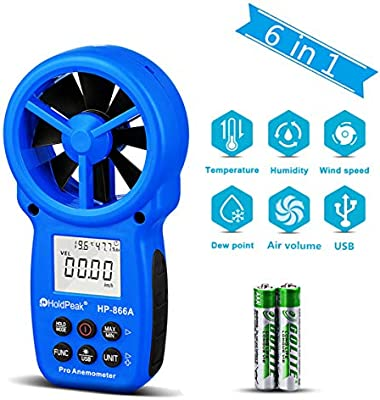 HOLDPEAK 866A Digital CFM Anemometer Handheld USB Wind Speed Meter for  Measuring Wind Speed, Temperature, Wind Flow with Data Hold and Back