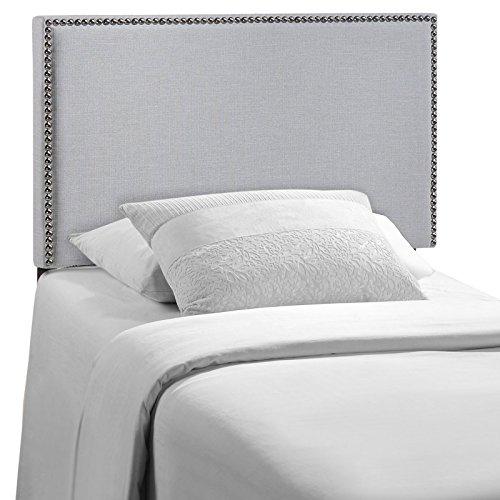 Modway MOD-5218-GRY Region Upholstered Linen Twin Headboard Size with Nailhead Trim in Sky Gray Fabric (Bracket Slot Twin)