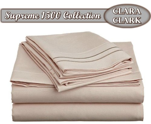 Clara Clark Supreme 1500 Collection 4pc Bed Sheet Set - Queen Size, Beige Cream (Mattress Set Product Premiere)