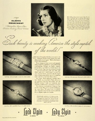 1941 Ad Lord Elgin Jewelry Watch 14K Natural Gold No. 4506 A Gladys Swarthout - Original Print Ad from PeriodPaper LLC-Collectible Original Print Archive