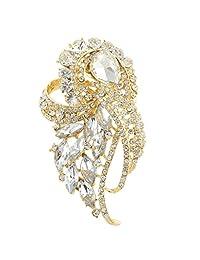 Ever Faith Wedding Flower Brooch Pendant Clear Austrian Crystal