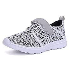 UKRIS Kids Lightweight Breathable Sneakers Easy Walk Casual Sport Shoes for Boys Girls(EU 27,Grey)