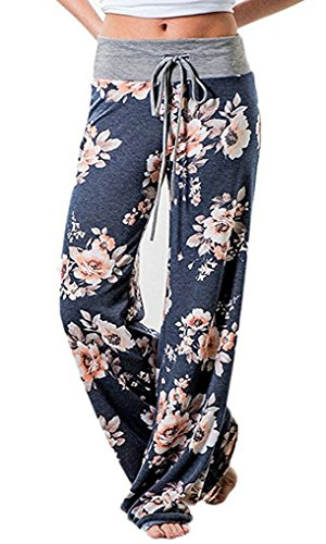 AMiERY Womens Comfy High Waisted Pajamas Pants Lounge Joggers Pant Loose Floral Casual Wide Leg Palazzo Pants Blue Tag S ()