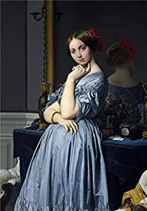'Jean-August-Dominique Ingres - Comtesse d'Haussonville, 1845' oil painting, 12x17 inch / 30x44 cm ,printed on Cotton Canvas ,this Reproductions Art Decorative Canvas Prints is perfectly suitalbe for Nursery decor and Home artwork and Gifts