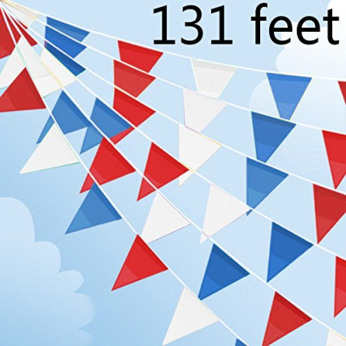 July 4th Fourth Party Decorations 131feet Red Blue and White Triangular Fabric Outdoor Pennant Banner, Polyester Fabric Fourth of July Bunting Flags Events Decoration for Independence Day]()