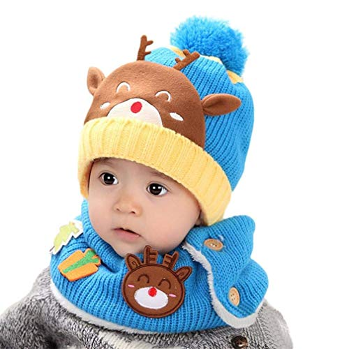 Fawn Beanie - Kids Winter Warm Hat, Fawn Hat Scarf Two-Piece Plus Velvet Knit Cap for Girls and Boys (Blue)