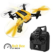 Holy Stone HS150 Bolt Bee Mini RC Quadcopter Racing Drone RTF 2.4GHz 6-Axis Gyro with 31 mp/h High Speed, Modular Battery and Wind Resistance Headless Mode Includes Bonus Battery