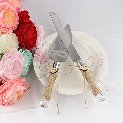 Ocamo Wedding Party Cake Knife and Server Set Romantic Modern Design with Stainless Steel Blades Flax Rope Twine Wrapped Handles Love