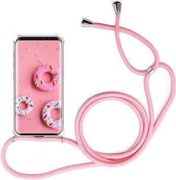Oro Rosa Anti-rasgu/ños Moda y Practico Anti-Choque YuhooTech Funda con Cuerda para LG K51S, Suave Silicona Transparente TPU Carcasa de movil con Colgante//Cadena
