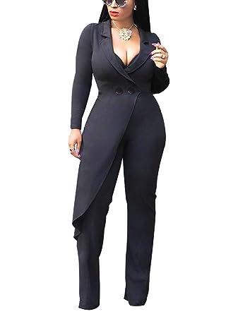 591efdeffe14d Amazon.com  Dreamparis Womens Wide Leg Jumpsuits Flare Palazzo Pants Suit   Clothing