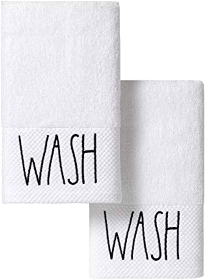 Rae Dunn Decorative Bathroom Hand Towels, Wash Embroidered Bathroom Towels Set, White Guest Bath Hand Towels with Black Text (16