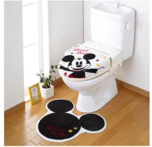 Disney Mickey Toiletry Lid Cover and Toilet Mat New From Japan F/s (Disney Channel Com Halloween)