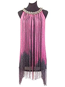 8. Vijiv Women's 1920s Gatsby Long Swinging Fringe Tassel Cocktail Dress