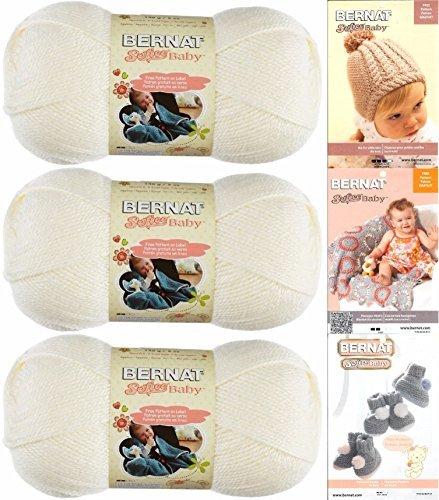 Pom Yarn Pom Baby (Bernat Softee Baby Yarn 3 Pack Bundle Includes 3 Patterns DK Light Worsted (White))