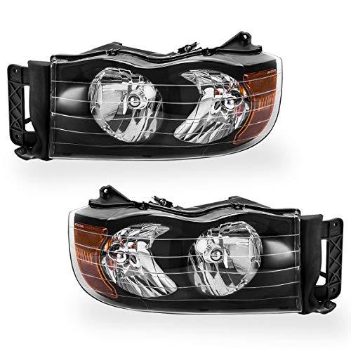 (For 2002-2005 Dodge Ram Headlights,2003-2005 Dodge Ram 2500 I 3500 Pickup Truck 2-Dr & 4-Dr Headlamps Set OEDRO Black Housing Amber Side Clear Lens Left + Right, 2-Yr Warranty)