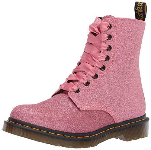 Dr. Martens Women's 1460 Pascal Glitter Fashion Boot, Pink, 7 Medium UK (9 US)