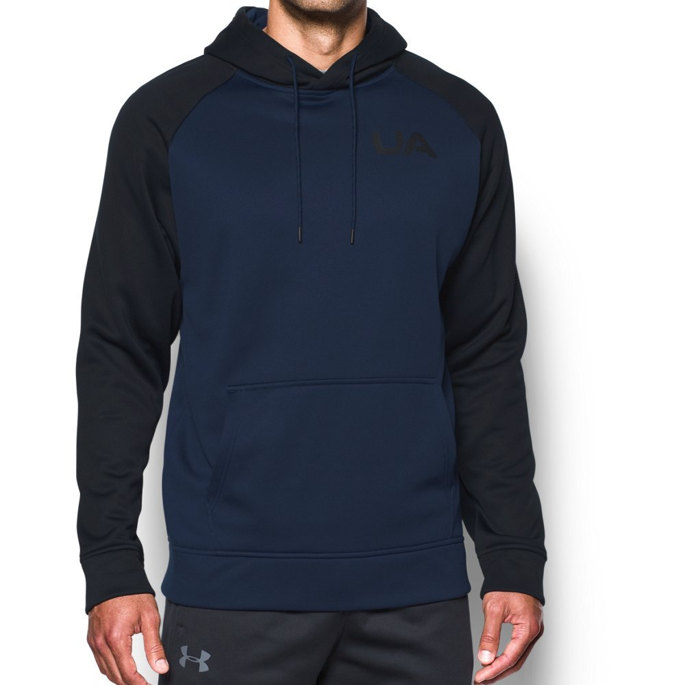 Under Armour Men's Fleece Color Block Hoodie, Midnight Navy/Black, Large