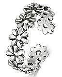 BORUO 925 Sterling Silver Toe Ring, Daisy Flower Hawaiian Adjustable Band Ring
