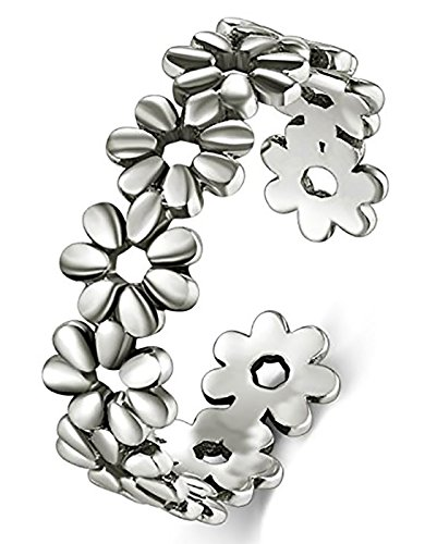 Hawaiian Ring Flowers (BORUO 925 Sterling Silver Toe Ring, Daisy Flower Hawaiian Adjustable Band Ring)
