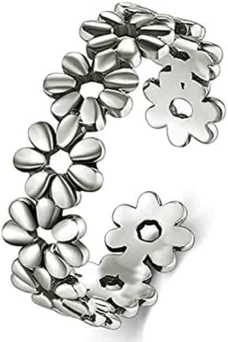 925 Sterting Silver Toe Ring, BoRuo Daisy Flower Hawaiian Adjustable Band Ring